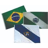 Kit Bandeira Oficial Ponta Grossa Brasil E Do Parana 1,30 Mt