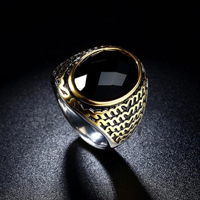 e6a6f1b43485 Anillo Acero Inoxidable 316 Persa Tungsteno Dorado Obsidiana