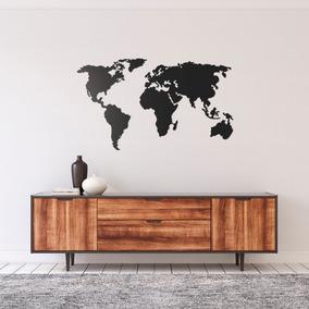 Quadro Decorativo Parede Escultura Mapa Mundi 1,20m
