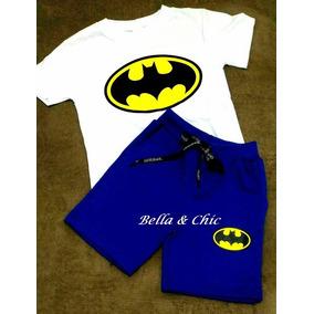 Roupa Criança Verão Menino Batman Superman Conjunto Envio Já