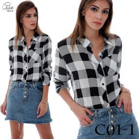 Camisa Xadrez Feminina - Camisa Casual Manga Longa Feminino no ... 3df1c43d803
