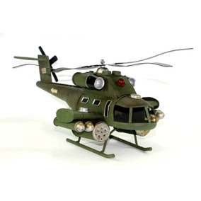 Miniatura Lata Artesanal Helicóptero Exercito Apache