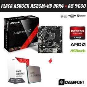 Kit Placa Mãe Asrock A320m-hd Ddr4 + Amd A8 9600 Am4 Ddr4