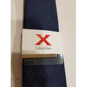 Calvin Klein X Corbata Azul Blanco Elegante Hombre Original