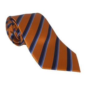 Corbata Italiana Naranja Oscuro Con Franjas Azules