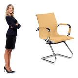 1 Cadeira Esteirinha Em Couro Pu Interlocutor Secretária