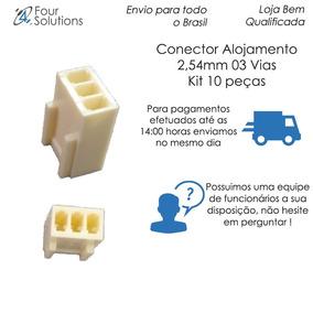 Conector Alojamento 2,54mm 03 Vias -kit 10pçs