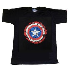Camisa Capitão América Azul Escura Marvel - Pronta Entrega