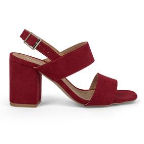 Sandalias Zapatos Dama Doble Cinta Gamuza Rojos 9114