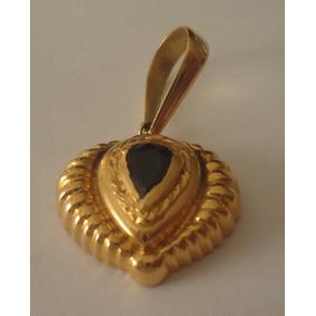 7196cdf06a0 Pingente Moderno De Ouro Com Safira Azul Gota Facetado! - Pingentes ...