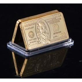 Plaqueta 100 Dólares Réplica Em Ouro 24k - Dinheiro Ouro