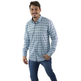 Camisa Social Manga Longa Azul - Não Perca