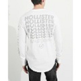 Hollister Camiseta Blanca Manga Larga Print Orginales