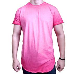 Camisa Em Tons Degradê Vermelho laranja Camisete Médio - Calçados ... c2d5bcf1657e0