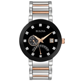 Reloj Bulova Con Diamante Cara Negra De Acero Inox 98d129