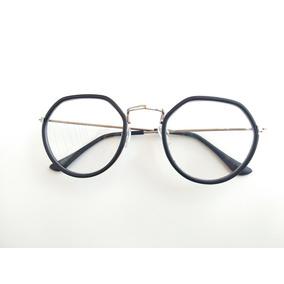 df74fa7633ad7 Armação Oculos Feminino Importado Retro Vintage Preto Unisse