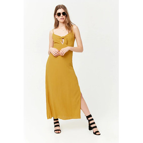 Forever 21 Maxi Vestido Casual Amarillo Mostaza Escote S Ch