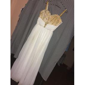 Vestido De 15 Años. Blanco Y Detalles En Dorado!!
