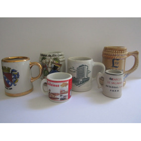 Lote Miniaturas 6 Canecas Porcelanas