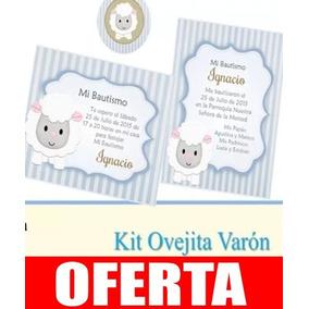 Kit Imprimible Ovejita Varón Invitacion Estampita Candy 23