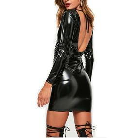 f06dcaf3f21 Mini Vestido Sexy Metalico Wet Look Gotico Pole Dance Fiesta
