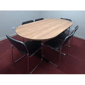 Conjunto 6 Cadeiras Escritório Mesa Reunião Oval 2,00 X 0,90