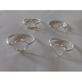 4 Anel Em Prata Geométricos Triângulo Losango Círculo V