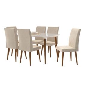 Mesa 6 Cadeiras Jade Off White Com Suede Bege - Rv Móveis