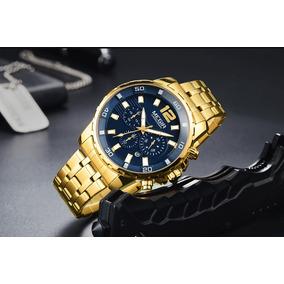 Relógio Masculino Dourado Importado Social Super Promoção !!