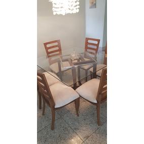 Mesa Quadrada De Vidro, Com 6 Cadeiras