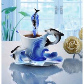 Xícara Caneca Golfinho 3d Com Pires E Colher Azul 180ml