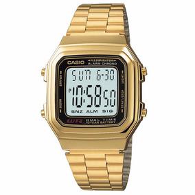 Relogio Casio Dourado Unisex A178w Produto 100% Original