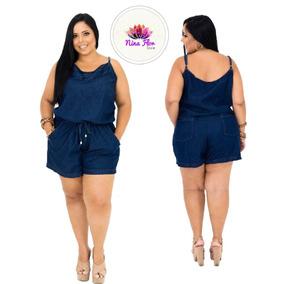 Macacão Macaquinho Jeans Feminino Plus Size Tamanho Grande