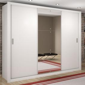 Guarda Roupa Casal Com Espelho 3 Portas De Correr Luna Ciwt