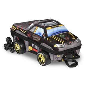 Mochila Escolar Masculina Pickup Preta 3d Com Lancheira