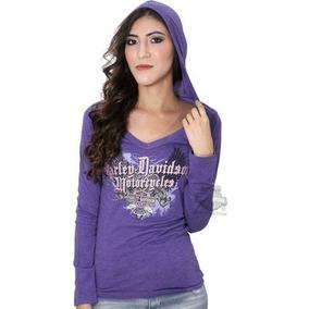 Blusa Feminina M Longa Camiseta Harley Davidson Capuz