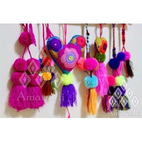 Paquete 7 Pompones Artesanales Mexicanos Diseños Surtidos