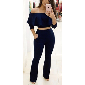 Conjunto Cropped Blusa E Calça Blogueira Feminino Festa #t1