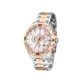 Relógio Masculino Bulova Marine Star Wb31738z - Prata/rosê