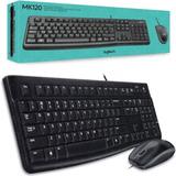 Teclado Y Mouse Logitech C/ Cable Usb Mk120 Pc Notebook