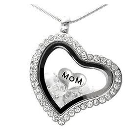 c7f50564f610 Collar De Medallón De Memoria De Mamá Con Cristales De Swaro