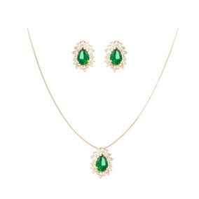Conjunto Orvalho Navete Verde Esmeralda