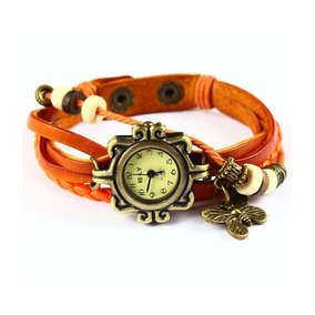 7bf085a9e30 Relogio Feminino Pulseira De Couro Pingente Borboleta - Relógios De ...