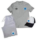 Kit Cruzeiro Futebol Campeão Camiseta + Bermuda + Boné 90ab2becb065b