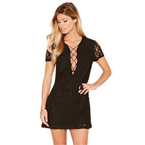 Vestido Corto Negro De Encaje Con Cordones Moda Forever 21