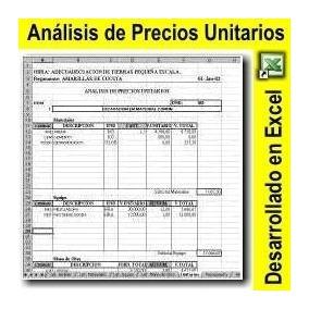 Excel De Análisis Precios Unitarios Presupuesto Apu_diseño