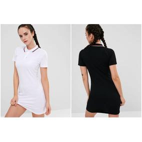 bcdc2be53fa Mujeres Polo Collar Mini Deportes Vestido Negro   Blanco