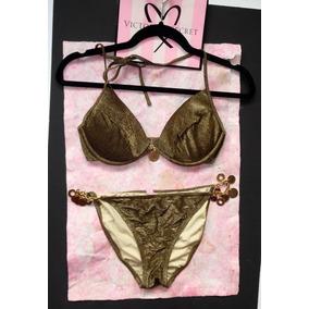Victorias Secret Traje De Baño Bikini Vintage Dorado 34c M