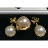 Anillo Y Aretes De Oro Con Perlas 18k
