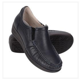 Sapato Conforto Em Couro Diabetico Feminino Anti Estresse